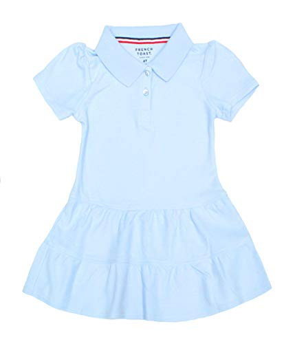 French Toast Girls' Ruffled Pique Polo Dress, Light Blue, 4T