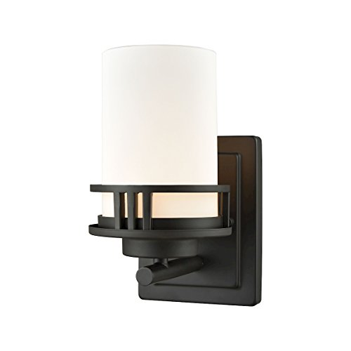 Elk Lighting CN578171 Ravendale 1-Light for The Bath in Oil Rubbed Bronze with Opal White Glass Vanity Wall Sconce, ()