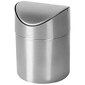 M SANMERSEN Mini Trash Can for Desk with Lid Desktop Trash Can Small Tiny Countertop Trash Bin Can for Office Bathroom Kitchen Waste Basket 1.5 L / ...