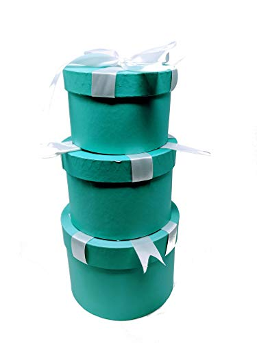 Robins Egg Blue Nested Boxes - Set of 3 for Baby Shower, Weddings, and Birthdays (Round w/Bow) -