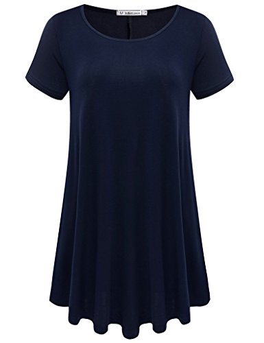 JollieLovin Women's Short Sleeve Loose Fit Flare Hem T Shirt Tunic Top (Navy Blue, S) ()