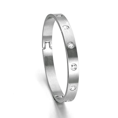 - XIUDA Polished Bangle Bracelet for Women & Men with Zircon Brushed Matte