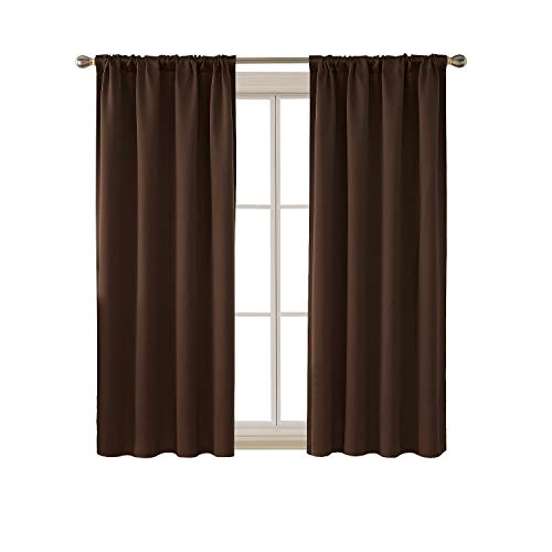 Deconovo Rod Pocket Blackout Curtains Room Darkening Thermal Insulated Window Panel Drapes for Bedroom 42W x 63L Inch Brown 2 Panels