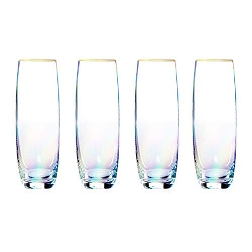 Root7 Rainbow Stemless Prosecco Glass Set | Tinted Borosilicate Drinking Glasses, Suitable For Champagne or Sparkling Wine, 6oz, 4 Pack (Glassware Tinted)