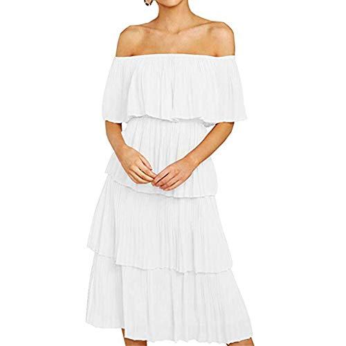 AHAYAKU Fashion Women Chiffon Off Shoulder Ruffles Solid Evening Party Layered Dress White