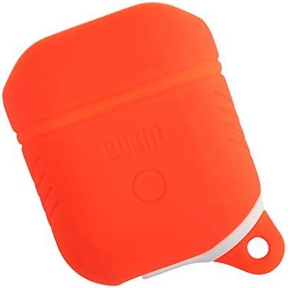 AirPod用 ストラップ付き シリコーン充電カバー ケース プロテクター 小型 オレンジ
