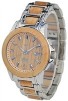 Wood Mark ZS-1036G Mens Chesapeake Silver Stainless Steel & Maple wood Watch