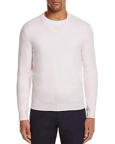 - Bloomingdale's Cashmere Cotton Heavenly Pink V-Neck Sweater Size L