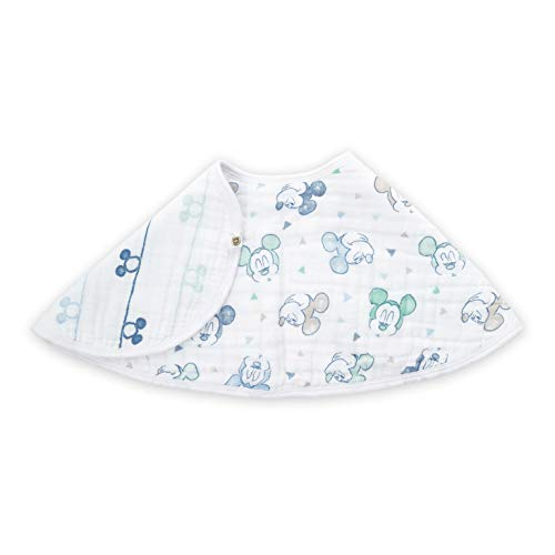 aden by aden + Anais Disney Burpy Bib, 100% Cotton Muslin, Soft Absorbent 4 Layers, Multi-Use Burp Cloth and Bib, 22.5