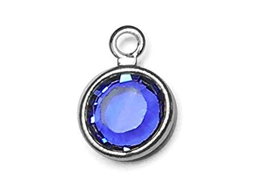 (20 pc Swarovski Birthstone Channel Charms Silver Plated - Choose Your Color 6mm Stone CC6S-XXXX10 Swarovski birthstones (Sapphire - Sept))