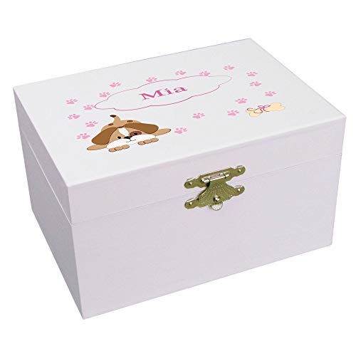 Personalized Pink Puppy Ballerina Musical Jewelry Box (Puppy Musical Jewelry Box)