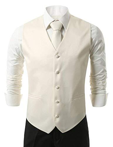 Knoepproof Da Loop Collo Elegante Uomo Slim V Suit Vintage Gilet Tie Vest Smoking Beige Hanky con E Fit 5 IxdPOOwq