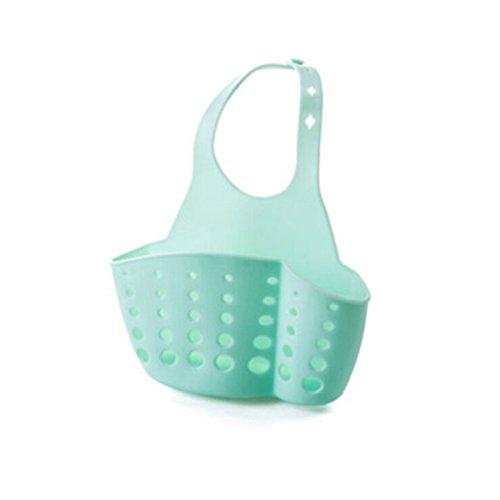 OUNONA Sink Hanging Storage Drain Bag Basket Bath Storage Gadget Tools Sink Holder Sponge Storage Rack Basket Blue
