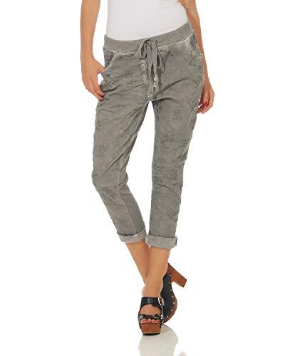 ZARMEXX Pantaloni da donna in cotone Pantaloni casual 1341 Business Casual Boyfriends lavato pantaloni della tuta leggeri Grigio Chiaro