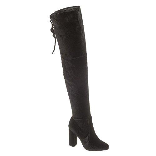 CASSIEOver Knee Block Heel Velvet Boot Black Velvet