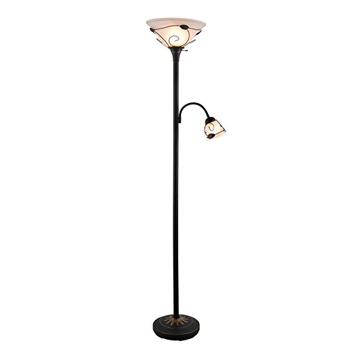 CO-Z Torchiere Floor Lamp with Side Reading Light, 3-Way Switch Combo Antique Bronze Mother Daughter Floor Lamp with Glass Shade, 71