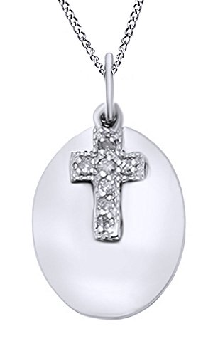 AFFY White Natural Diamond Cross with Oval Disc Pendant Necklace in 14k White Gold Over Sterling Silver