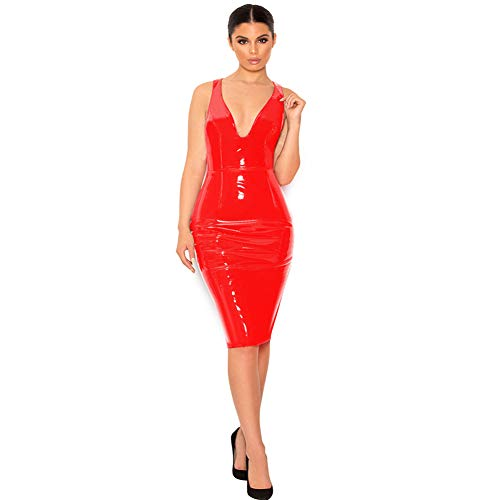 Women's Shiny PVC Zip Mini Dress,Sleeveless Bodysuit Night Club Costume Club Party Dress Lingerie Temptation Slim Hip Pole Dance Clothes Sexy Backless Mini Dress(S-6XL),Red,L
