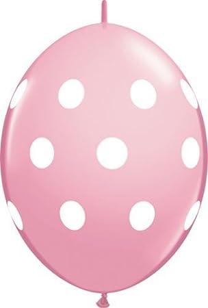 Qualatex 12 Quick Link Polka Dot Balloons Pink Pack of 20
