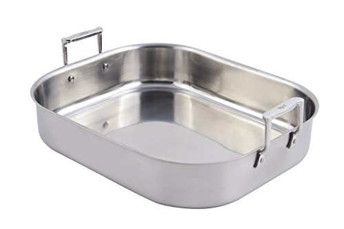 "Bon Chef 60010 Stainless Steel Cucina Rotisserie Pan, 10 quart Capacity, 16-1/2"" Length x 14-1/8"" Width x 4"" Height"