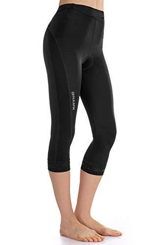 Dinamik Womens Cycling 3/4 Bike Tights Light Leggings Extra Padded Half Pants EVO PRO (Large, Black)