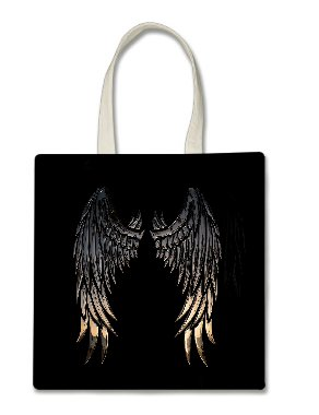 (Angel Wings Silver Gold Printed Tote Bag, 14.5x15