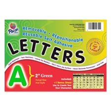 Pacon Self-Adhesive Reusable Letters, 2 Inches, Green, Set of 159