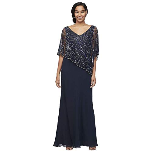 Chiffon V-Neck Sheath Mother of Bride/Groom Dress with Beaded Capelet Style 5019N, Navy, 18