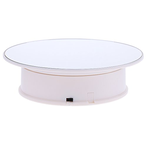 Baoblaze Battery Powered Jewellery Makeup Display Stand 360 Degree Turntable Rotating - White Base & Mirror Top, as described
