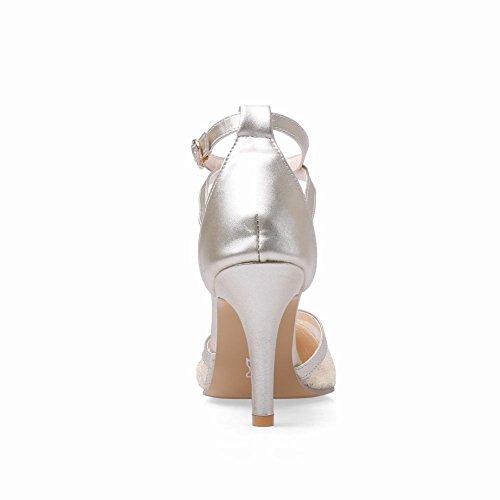 Carol Shoes Chic Womens Elegance Buckle Sexy Fashion Pointed-toe Lace High Stiletto Heel Sandals Gold qvarh8qQm