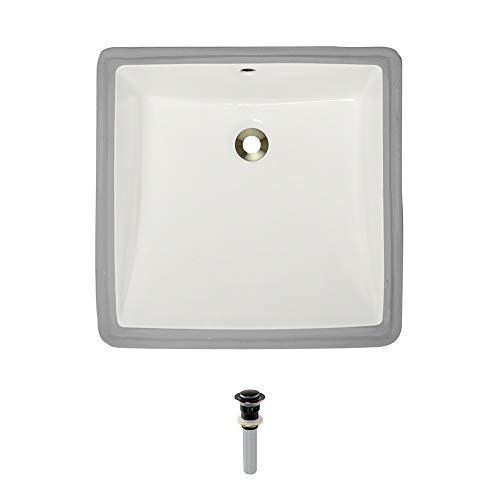 (U2230-Bisque Undermount Porcelain Bathroom Sink Ensemble, Antique Bronze Pop-Up)