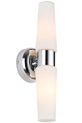 RUNNLY Wall Lamp Sconce Light Bathroom Vanity Lighting, Polished Chrome with Opal Glass