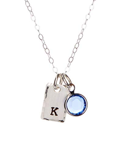 By Hannah Design Sterling Silver Tiny Initial Personalized Necklace - Swarovski Birthstone Crystal