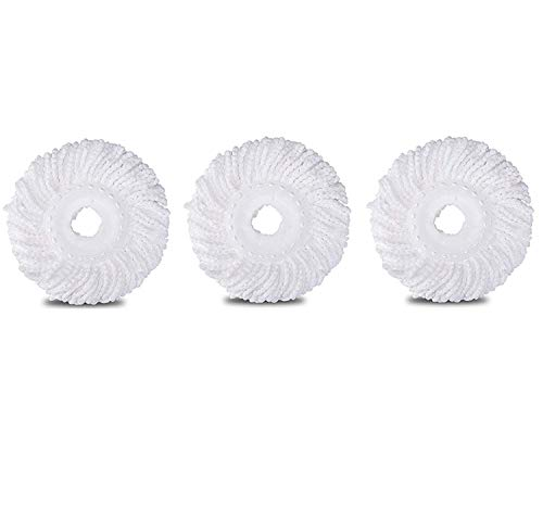 3 Pack 360° Spin Magic Mop Replacement Head, Round Shape Standard Size Microfiber Mop Head Refills for Hurricane Mopnado EGOFLEX Hapinnex Casabella and Other Brands