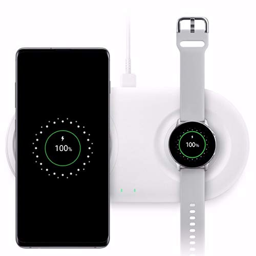 - QUICATCH for Samsung S2/S3 Watch for Samsung Galaxy S10/S10+ 2 in 1 Qi Fast Charging Portable Wireless Charger Pad for Home Office Public Area (White)