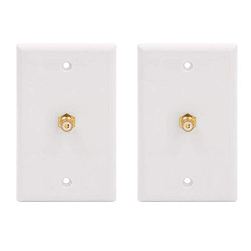 - VCE 2-Pack Single RCA Connector Wall Plate for Subwoofer Audio Port-White