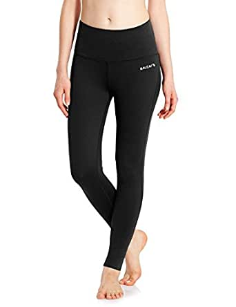 Baleaf Women's High Waist Yoga Pants Non See-through Fabric Black Size S