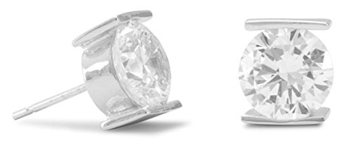 (Rhodium Plated Sterling Silver Post Stud Earrings, 8mm Tension Set Cubic Zirconia CZs)