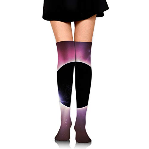 High Elasticity Girl Cotton Knee High Socks Uniform Solar Eclipse Women Tube Socks ()
