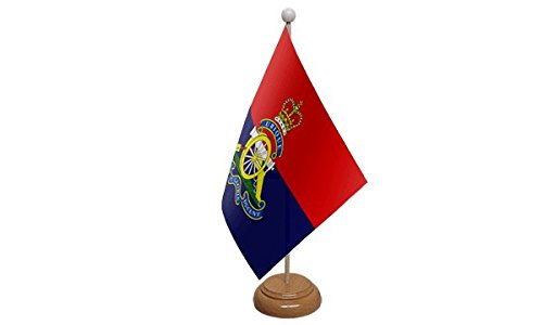 British Army Royal Artillery Regiment Table Flag With Wooden Base ()