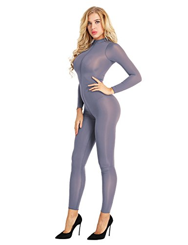 Freebily Women Sheer Bodysuit Catsuit Double Zipper Long Sleeve Open Crotch Jumpsuit Gray Large by Freebily
