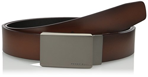Perry Ellis Men's Perry Ellis Portfolio Men's Reversible Matte Gunmetal Plaque Belt, Brown/black, 34 (Perry Ellis Brown Belt)