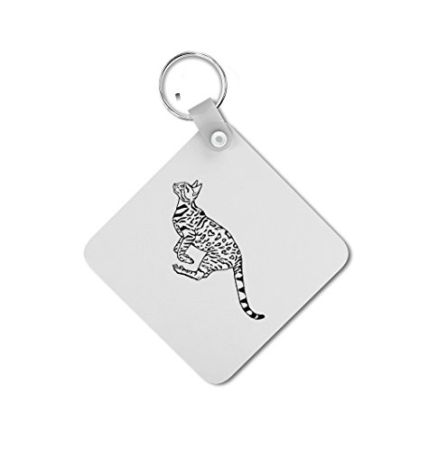 Bengal Cat Black White Double-sided Square Metal Key Chain