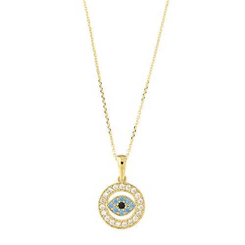 14k Yellow Gold Cubic Zirconia Simulated Blue Topaz Evil Eye Pendant Cable Chain Necklace, 18