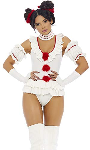 Forplay Women's Let's Play a Game Sexy Movie Clown Character Costume, White, L/XL -