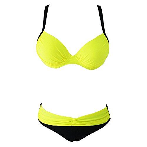 Erica Correa de mujer Halter bikinis de impresión Patchwork Cruz dos piezas Set Swimsuit Underwire acolchado Bra Poliéster Yellow