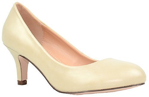 Shoes Inspired Womens Heel Leopard (Chase & Chloe Kona-1 Low Heel Round Toe Women's Pump Shoes (9, Nude))