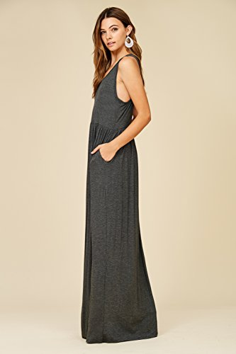 Dresses Casual Long Maxi Top Tank Sleeveless Charcoal Racerback Annabelle Women's H5xqw806