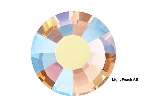 Preciosa Genuine Czech Crystals, 144pcs in size ss20 (5 mm), Light Peach AB, Viva Chaton Roses (Viva12 MC Rhinestone Flatbacks), orange pink coated with Aurora Borealis, 20ss