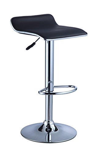 Powell Black Faux Leather/Chrome Thin Seat Adjustable Bar Stool, Pack of 2 - Powell Leather Bar Stools